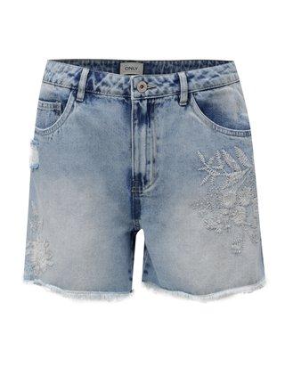 Pantaloni scurti albastru deschis din denim cu talie inalta si broderie ONLY Mary