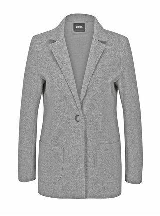 Šedý žíhaný krátký kabát ZOOT