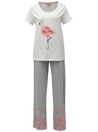 Krémovo-šedé dvoudílné pyžamo s motivem plameňáka Dorothy Perkins