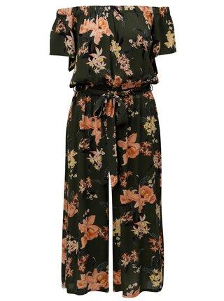Salopeta kaki cu croi crop lejer, model floral si decolteu pe umeri Dorothy Perkins