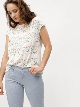 Krémové dámské květované tričko s.Oliver