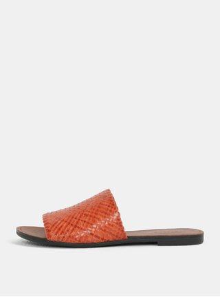 Papuci de dama caramiziu din piele naturala Vagabond Tia