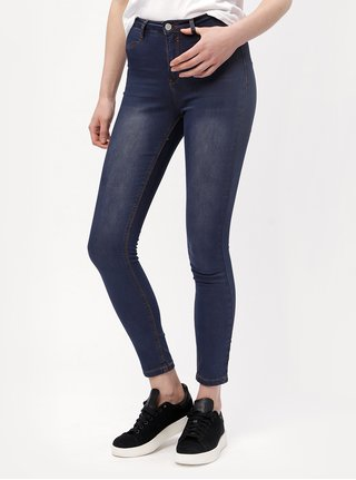 Jeggings bleumarin cu aspect usor decolorat MISSGUIDED