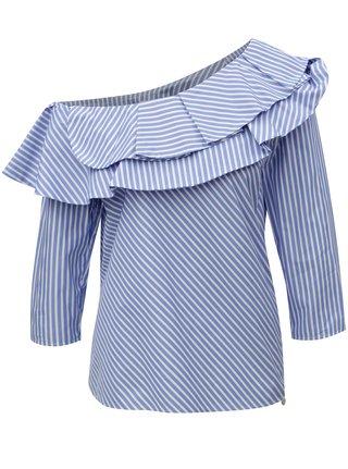 Bílo-modrá pruhovaná halenka s odhaleným ramenem Rich & Royal