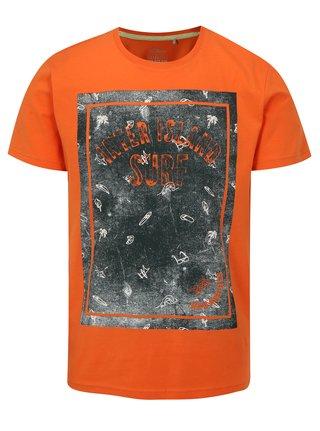 Oranžové pánské slim fit  tričko s potiskem s.Oliver
