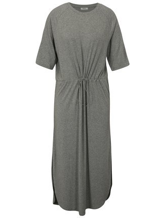 Světle šedé volné žíhané midi šaty Moss Copenhagen Brooke