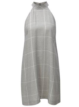 Sivé kockované ľanová šaty THAÏS & STRÖE