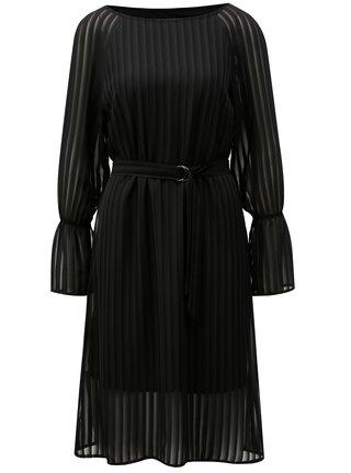 Čierne pruhované šaty s volánmi THAÏS & STRÖE