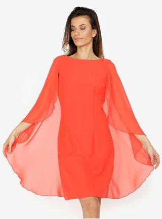 Červené šaty s volánovými rukávmi VERO MODA Hannah