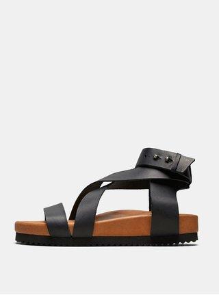 Černé kožené sandály Selected Femme Strap