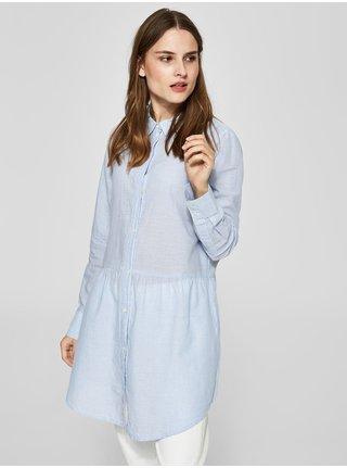Camasa albastru deschis lunga cu model in dungi Selected Femme Tania
