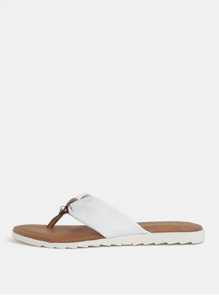 Papuci flip-flop maro-alb din piele naturala Tamaris