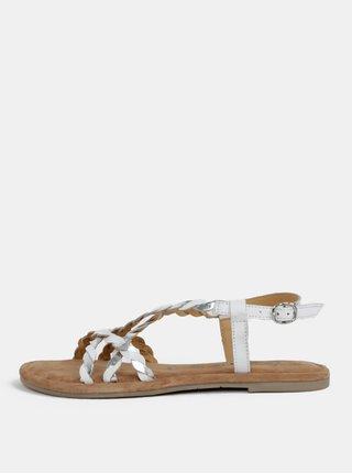 Sandale maro-alb din piele naturala Tamaris