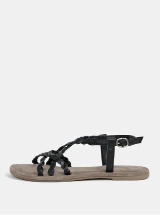 2233ad523361 Béžovo-čierne kožené sandále Tamaris