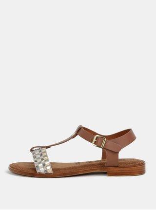 Hnědo-krémové kožené sandály Tamaris