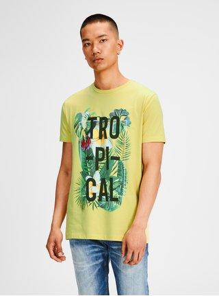 Žlté tričko s farebnou potlačou Jack & Jones Rain