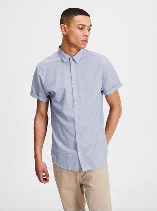Světle modrá slim fit košile s krátkým rukávem Jack & Jones Summer