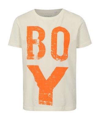 Krémové chlapčenské tričko s potlačou name it Jobo