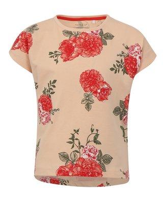 Marhuľové dievčenské kvetované tričko name it Vigga