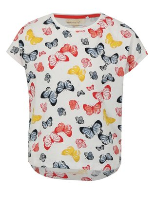 Biele dievčenské tričko s motívom motýľov name it Vigga