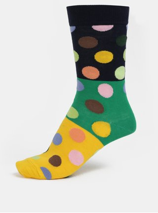 bb714bb4d86 Modro-žluté dámské puntíkované ponožky Happy Socks