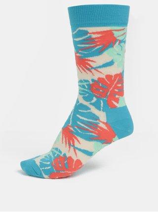 Béžovo-tyrkysové dámské vzorované ponožky Happy Socks Jungle