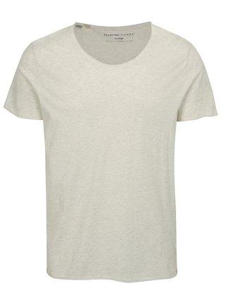 Svetlosivé melírované basic tričko Selected Homme Shine