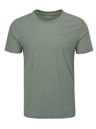 Šedo-zelené pruhované tričko Selected Homme Stripe