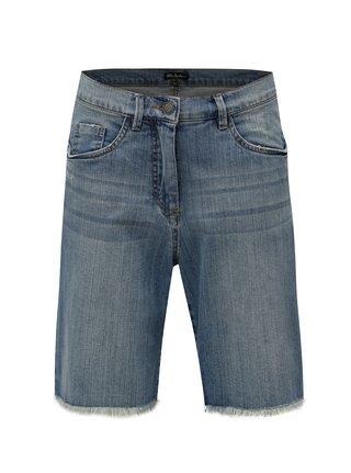 Pantaloni scurti albastri din denim cu terminatii nefinisate Ulla Popken