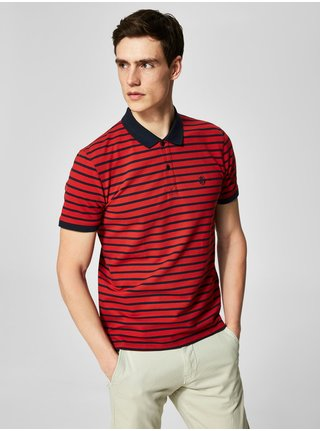 Tricou polo albastru-rosu in dungi Selected Homme