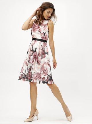 Rochie roz-alb in dungi cu model floral M&Co