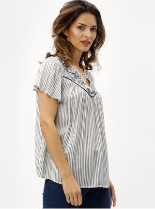 Bluza oversize albastru-crem in dungi cu broderie de flori M&Co