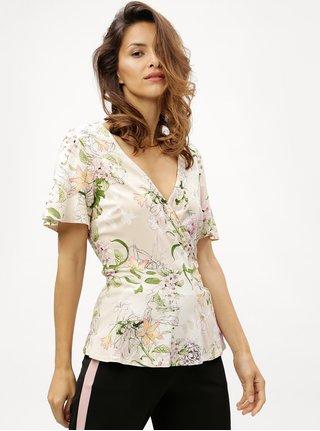 Bluza bej cu model floral si decolteu suprapus M&Co