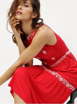 Rochie midi rosie cu model brodat M&Co Emboridered