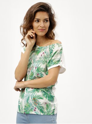 Tricou de dama alb-verde cu model M&Co
