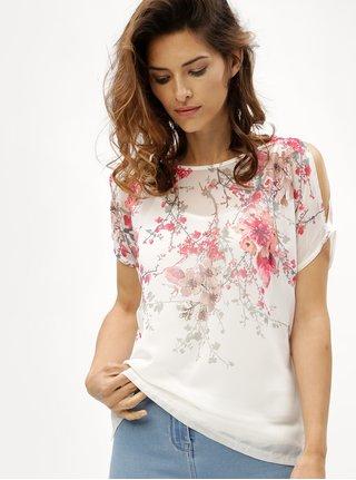 Bluza roz-alb cu model floral si decupaj pe umeri M&Co