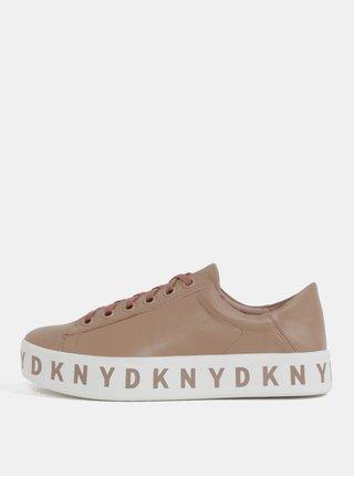 Růžové kožené tenisky na platformě DKNY