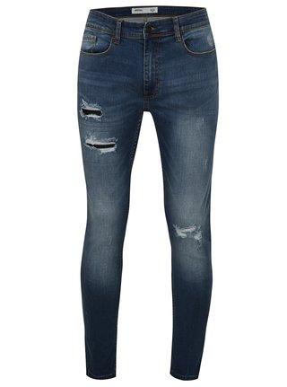 Blugi albastri super skinny din denim cu aspect usat Burton Menswear London