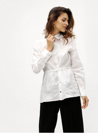 Bílá lněná košile s dlouhým rukávem DKNY
