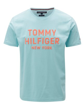 65c48659948 Oranžovo-tyrkysové pánské tričko s potiskem Tommy Hilfiger
