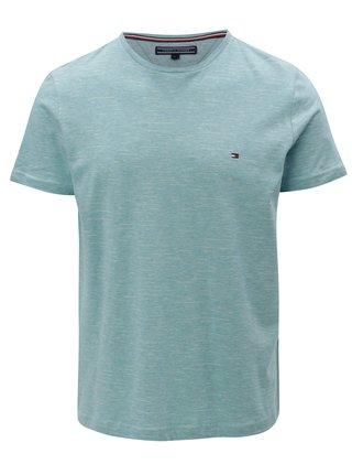 Tyrkysové melírované pánske tričko Tommy Hilfiger