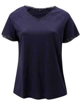 Tmavomodré dámske tričko s čipkou M&Co