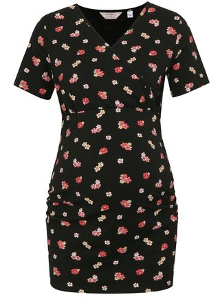 Tricou lung negru cu model floral pentru femei insarcinate si pentru alaptat Dorothy Perkins Maternity