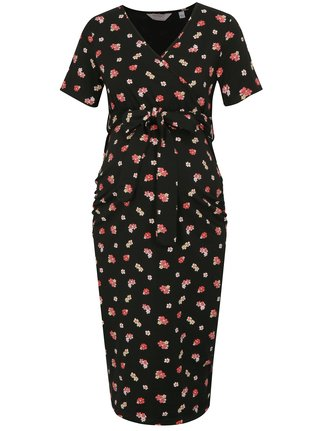 Rochie roz-negru floral pentru femei insarcinate si pentru alaptat Dorothy Perkins Maternity