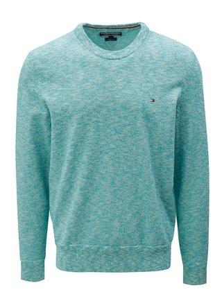 Krémovo-zelený melírovaný sveter Tommy Hilfiger d5682c2d619