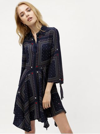 Tmavomodré vzorované košeľové šaty Tommy Hilfiger b348ef742ce