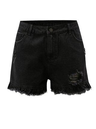 Pantaloni negri scurti din denim cu talie inalta si aspect uzat VILA Visadora