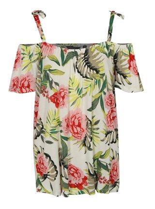 Tricou verde-crem cu model floral si decolteu pe umeri Dorothy Perkins Tall