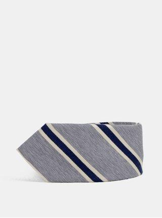 Sivá pruhovaná kravata Jack & Jones