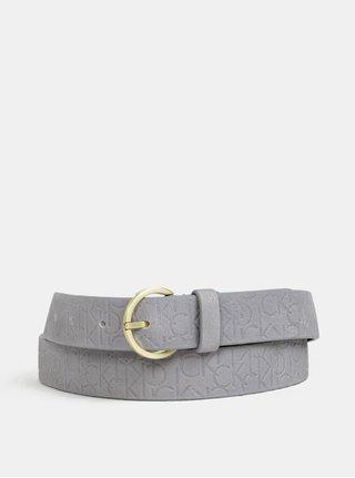 Sivý dámsky kožený opasok Calvin Klein Jeans